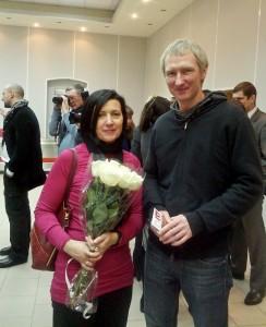 Ольга Остерберг и Алексей Бекренёв на открытии выставки